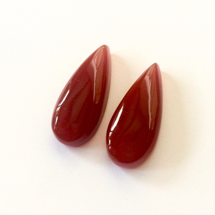 Red Onyx Gemstone Cabochon Pear 29x12mm FOR TWO