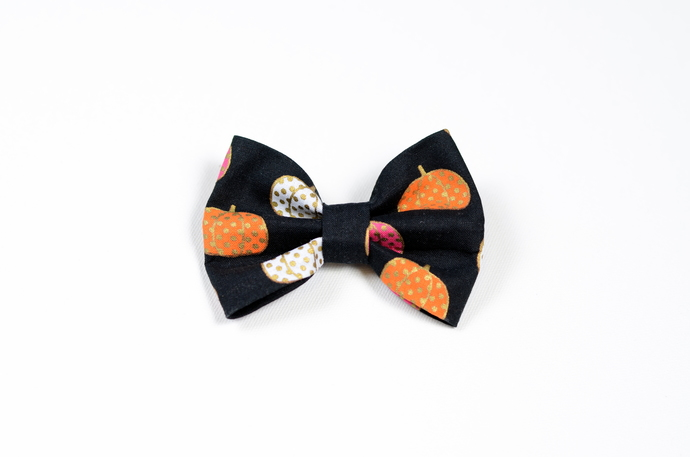 Large Cotton Bow Clip//Clip on Bow Tie - Bright Pumpkins