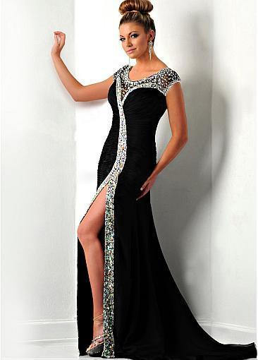 Charming Chiffon & Stretch Satin Scoop Neckline Sheath Evening Dresses With
