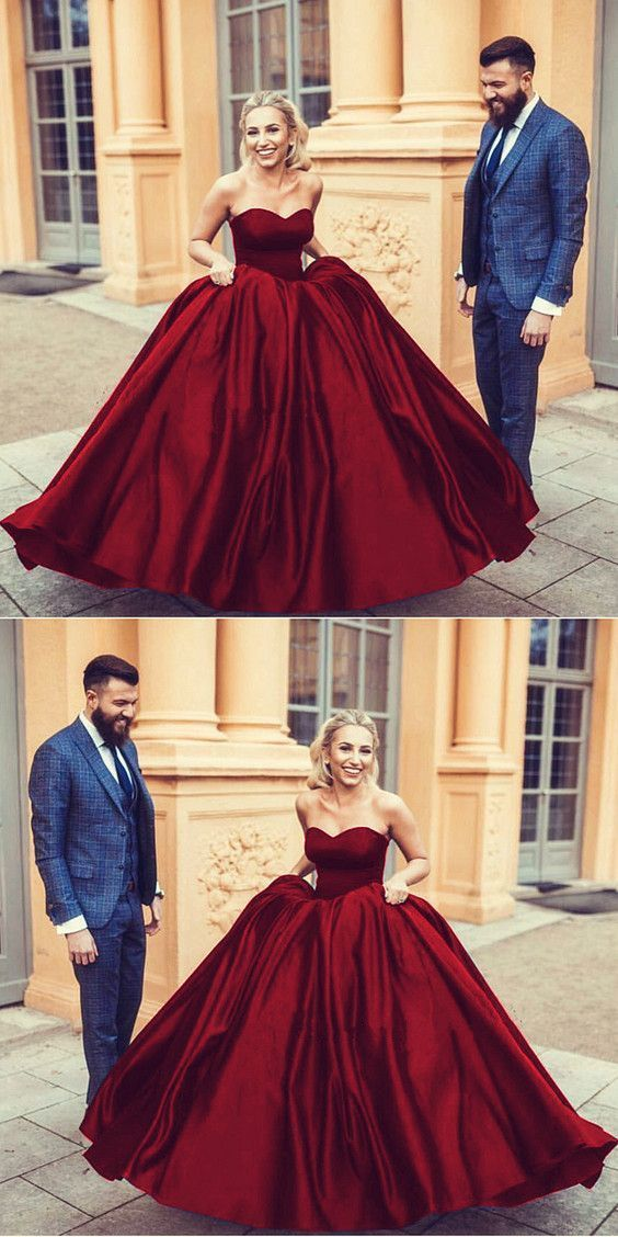 Wine red satin sweetheart ball gowns wedding dresses 2018