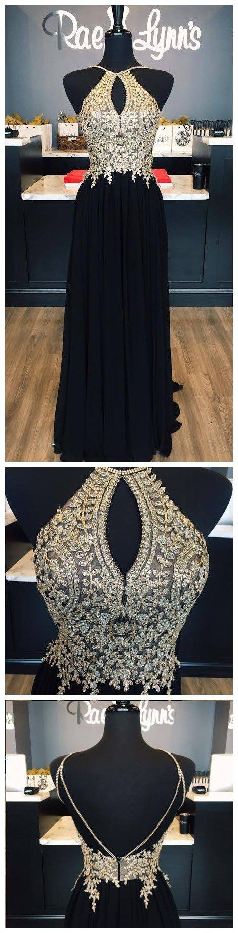 Halter Gold Lace Appliqued Black Prom Dress,Chiffon Long Prom Dress,Senior Prom