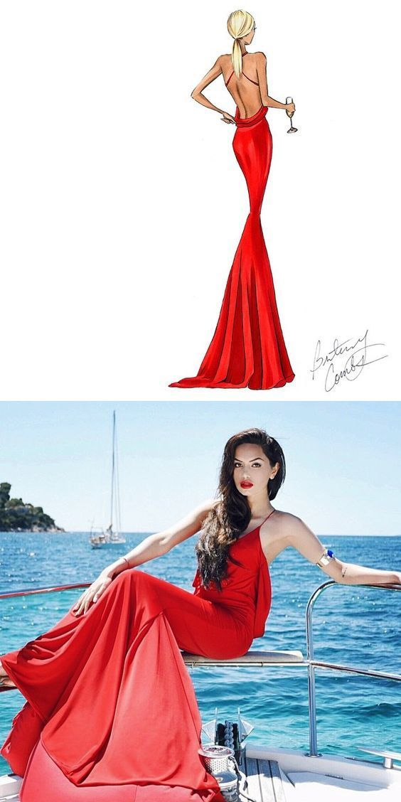Gorgeous Mermaid Red Long Prom Dress with Criss Cross Back
