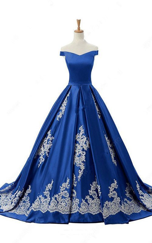 Off The Shoulder Satin Sweep Train Appliques Lace Princess Royal Blue Long Prom