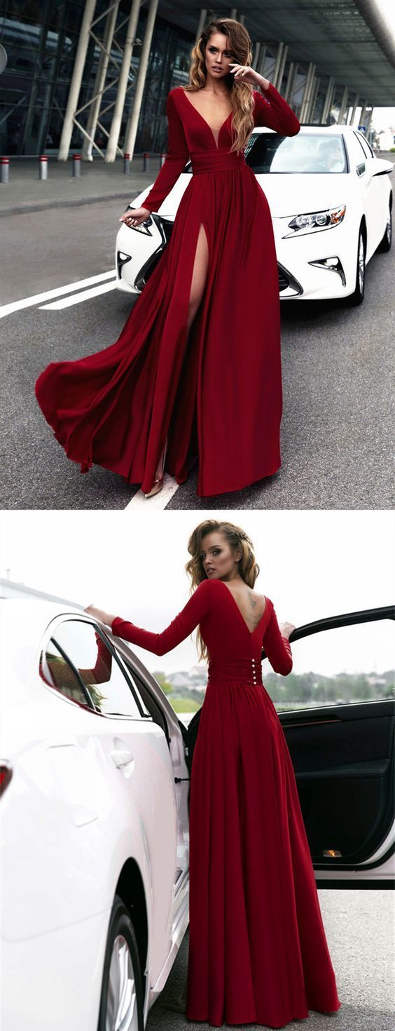 Sexy Deep V Neck Long Sleeves Prom Dresses 2018 Leg Split Evening Gowns burgundy