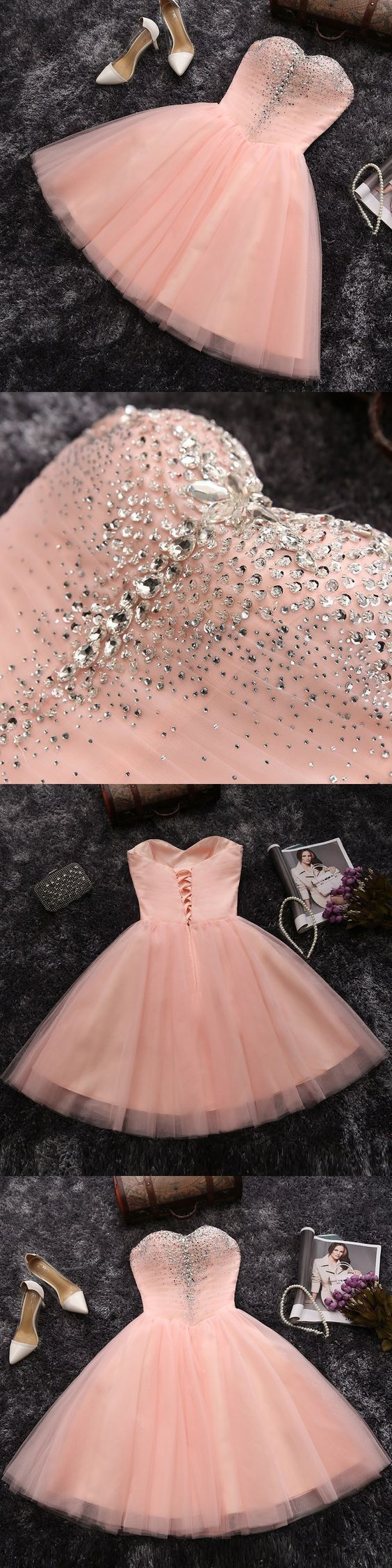 Charming Prom Dress,Tulle Pink Prom Dress,Short Prom Dresses