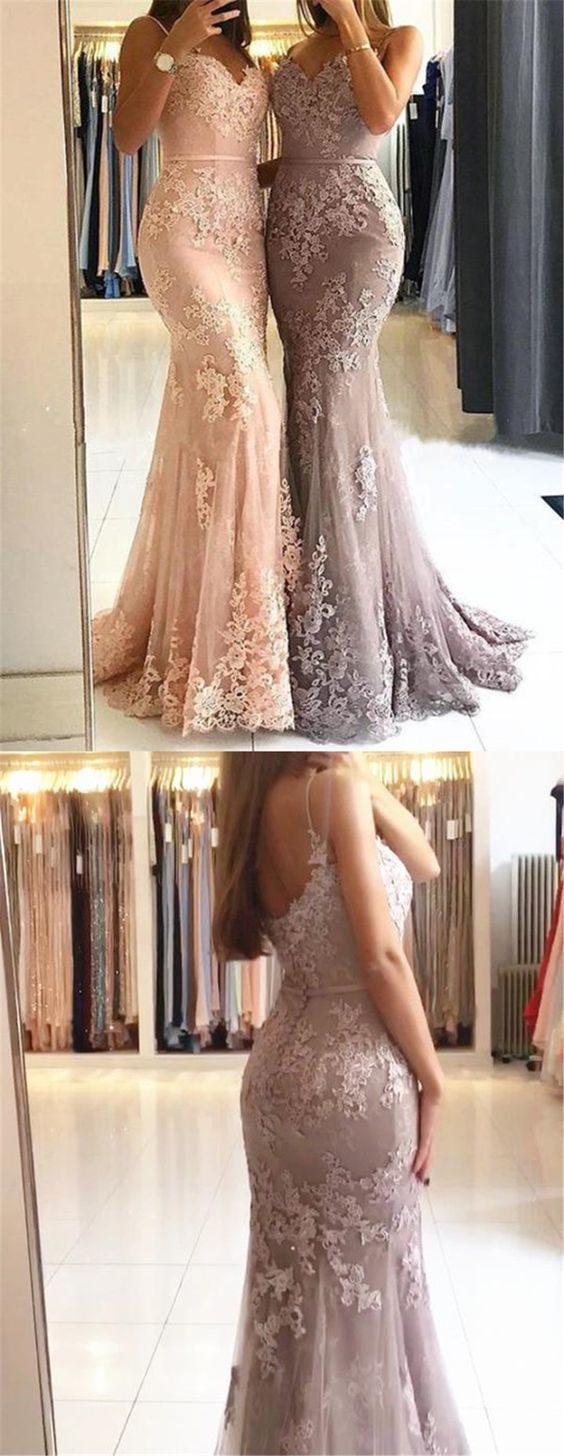 Sweetheart Spaghetti Straps Lace Mermaid Floor Long Custom Evening Prom Dresses