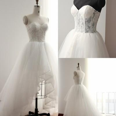 Sleeveless High Low Wedding Dress Illusion Bodice Simple Spring Summer Country