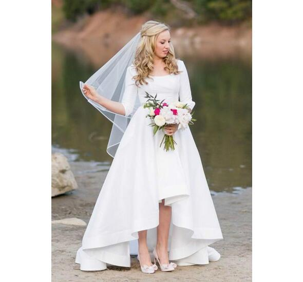 Scoop Neckline Satin High Low Wedding Dress Half Sleeves Plus Size Country  Bridal Dress Gown Custom Made