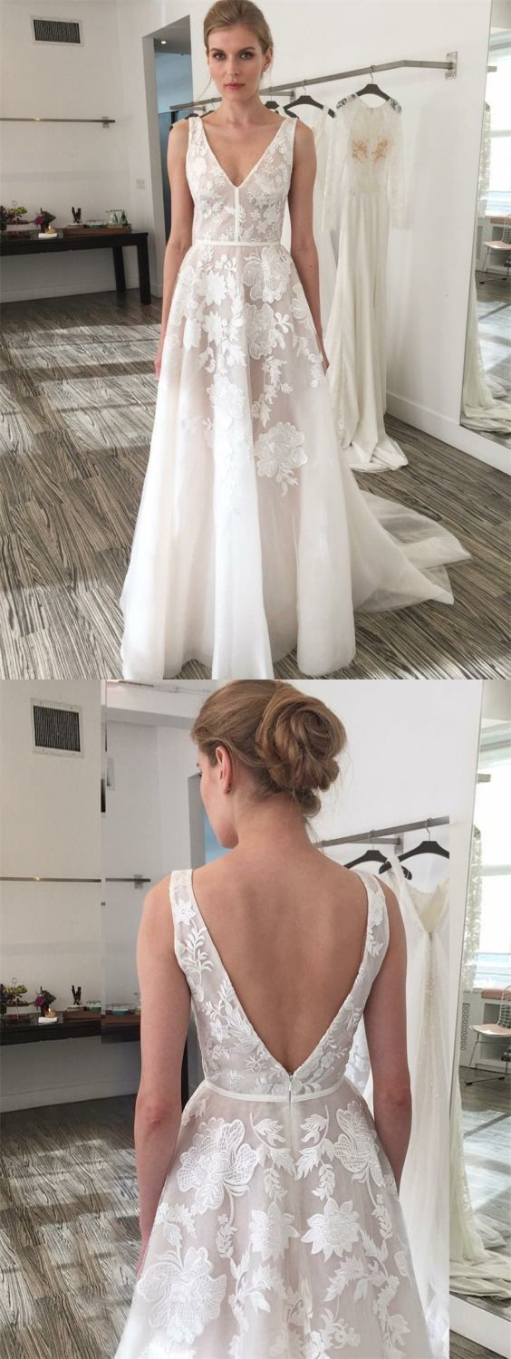 A-Line V-Neck Sweep Train Ivory Tulle Wedding Dress with Embroidery BD1185