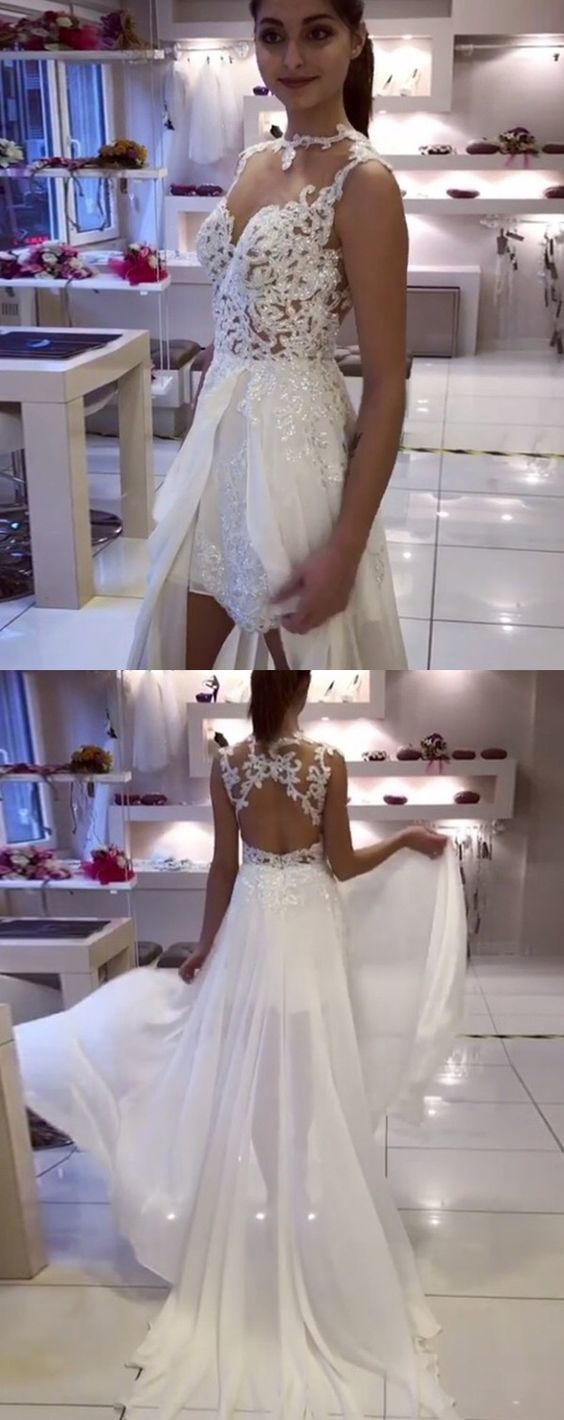 A-Line Illusion Jewel Open Back Chiffon Wedding Dress with Appliques  BD1186
