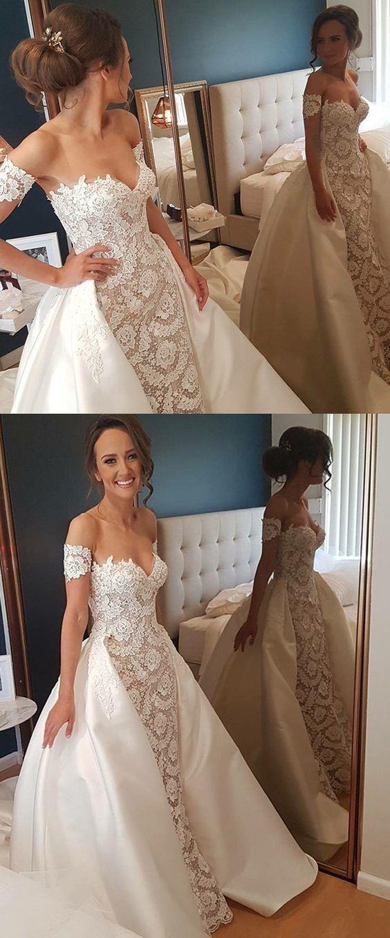Sheath Sweetheart Short Sleeves Detachable Lace Wedding Dress BD1188