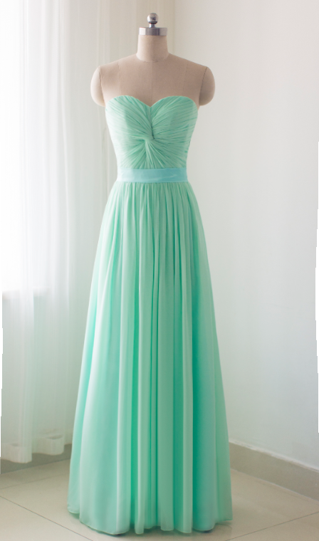 Mint Green Chiffon Long Party Dress Prom By Bemybridesmaid On Zibbet