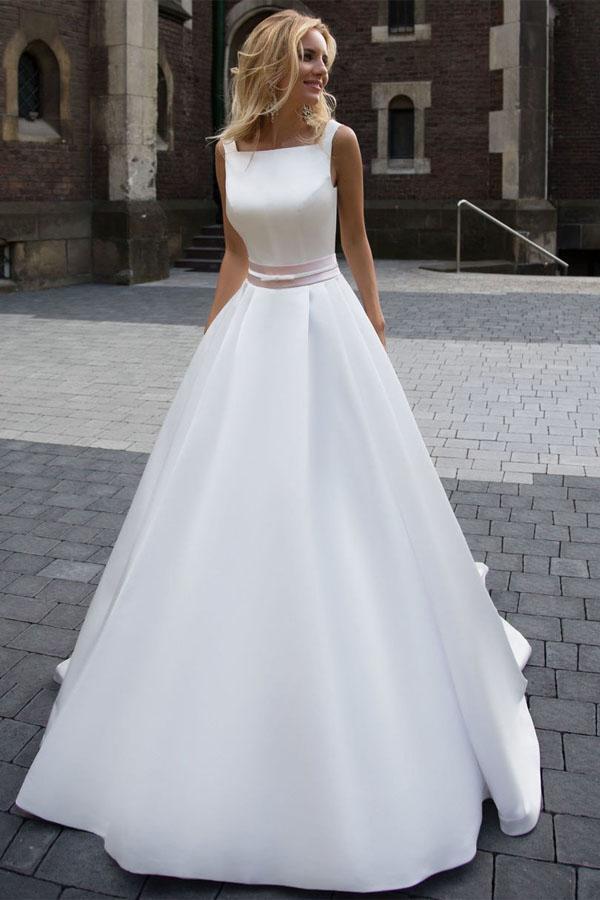 Princess Simple A-line Satin Ivory Wedding Dresses