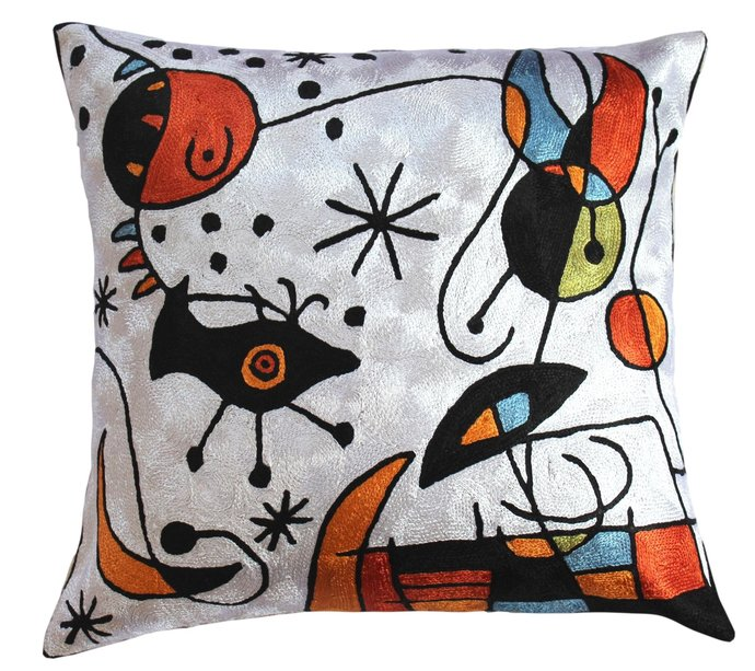 Karla Gerard Handmade Decorative cushion-cover modern accent-chain-stitch