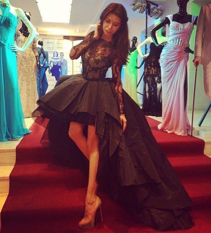 Sexy Black Puffy High Low Black Prom Dresses Long Sleeves Train Sheer Illusion