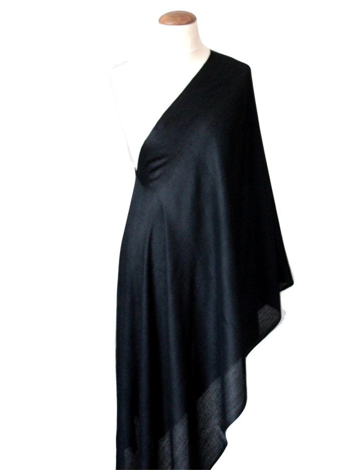 Luxurious Hand spun solid black cashmere pashmina shawl/wrap/gifts for