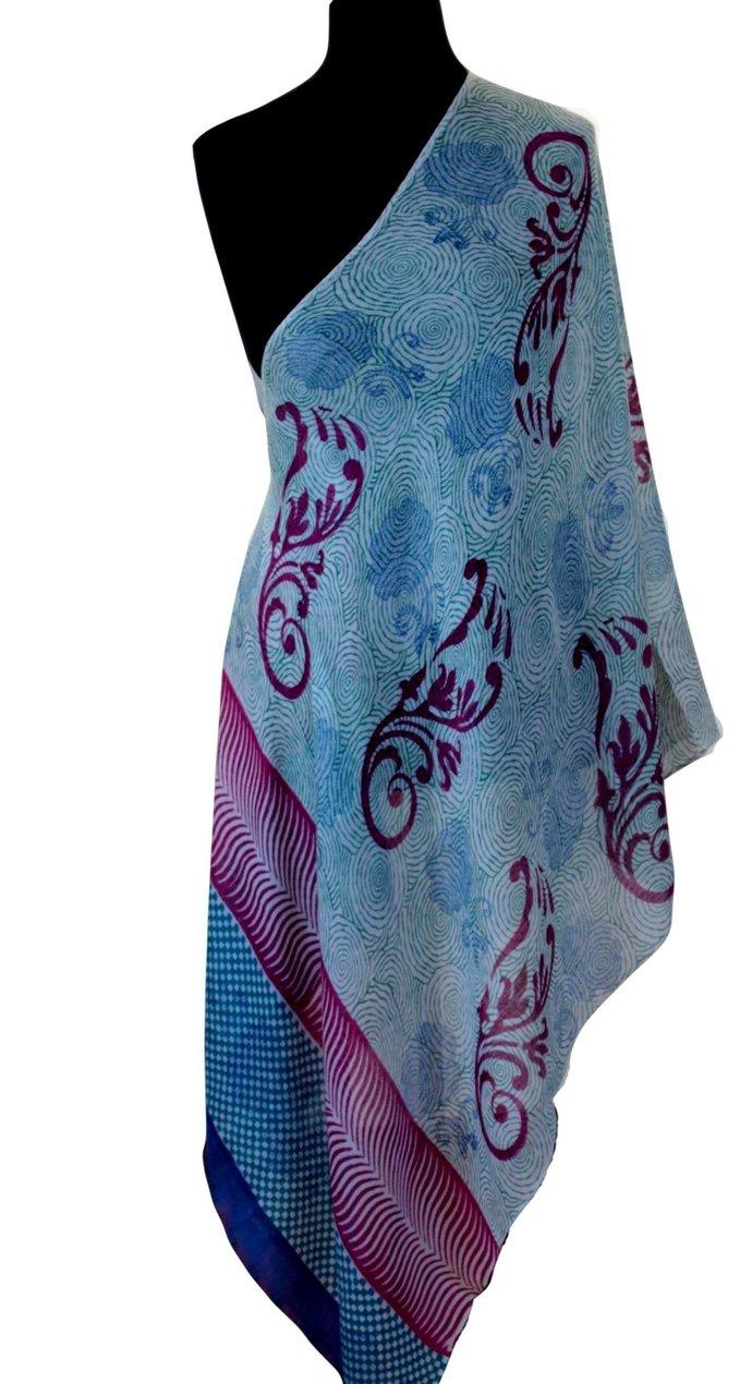 Finest cashmere cerulean blue handwoven hand-spun multi hued pattern