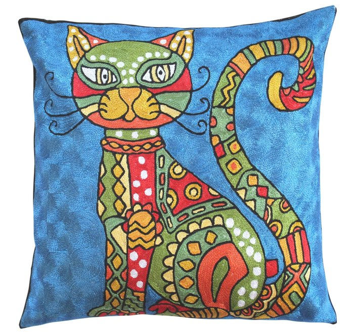 Picasso Cute Cat Light Blue Accent Pillow By DesignerKashmir On Zibbet Delectable Light Blue Throw Pillow Covers
