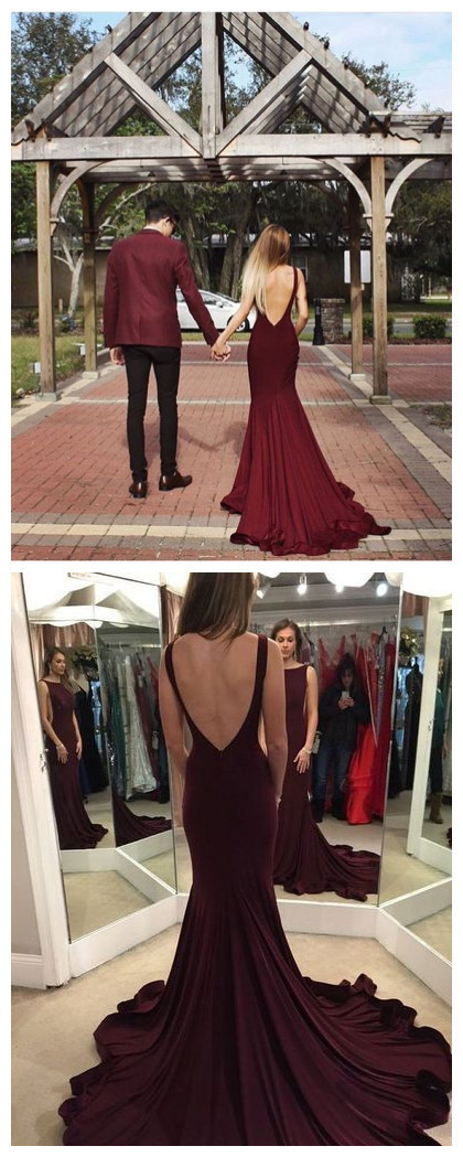 New Arrival Prom Dress,long prom dress,sexy mermaid prom gowns,burgundy evening