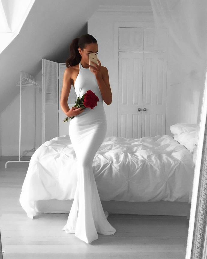 white prom dress,long mermaid dress,white evening dresses,long evening