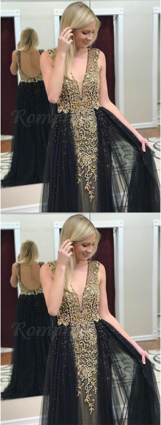 elegant deep v-neck prom dress with black tulle, fashion open back evening dress