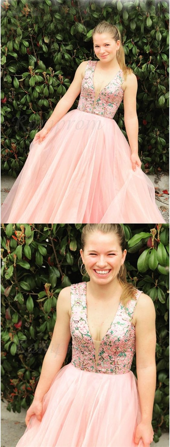 cute pink tulle prom dresses long,fashion v neck a line ball gown gradution