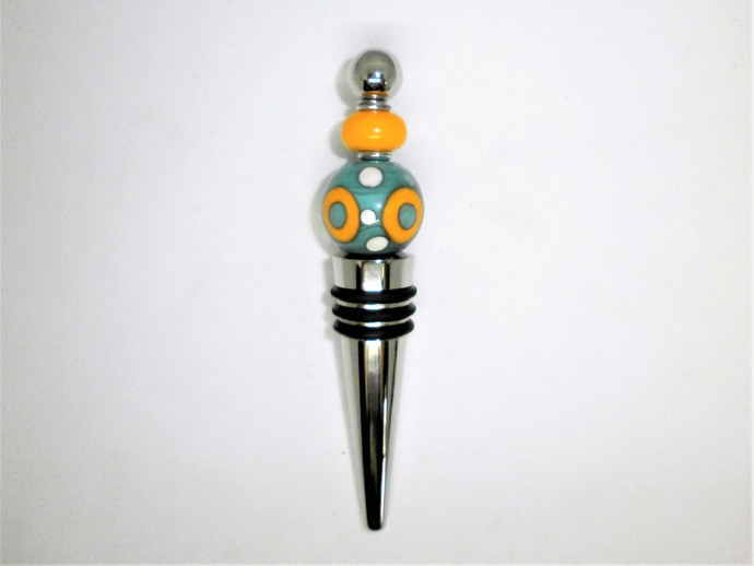 Turquoise and Yellow Lampwork bead decorated stainless steel wine bottle