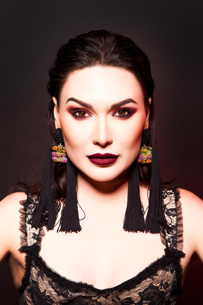 Black Long  Earrings Vanessa, Fringe Earrings