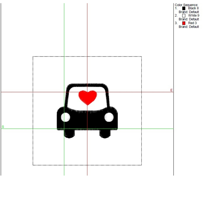 Love car embroidery machine designs wedding Heart pattern marriage instant