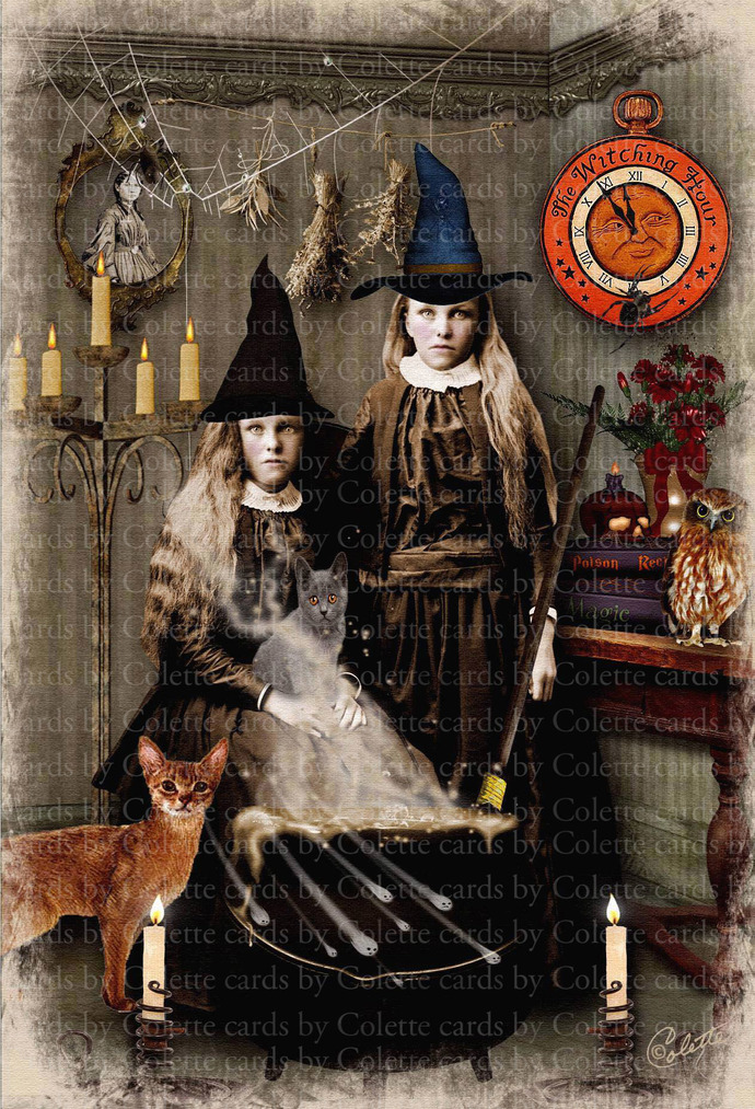 The Witching Hour Digital Collage Greeting Card5364