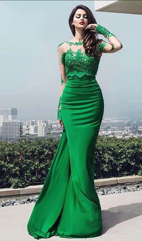 New Design Long Prom Dresses Long Sleeves Floor Length Appliques Sexy Open  Back f802022d9