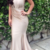 Simple Champagne Satin Mermaid Evening Dresses V Neck Sleeveless Pleated African