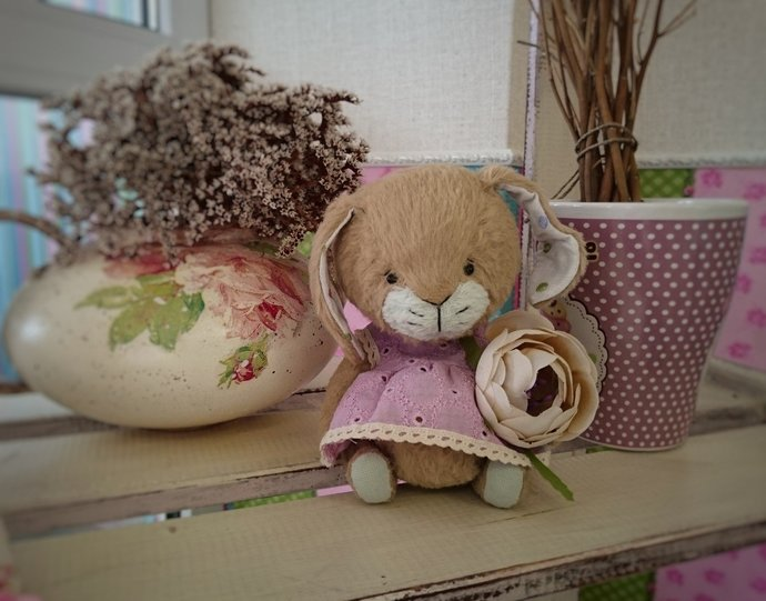Bunny Teddy Teddy Sewn Toy Miniature By Manunya Teddy On Zibbet