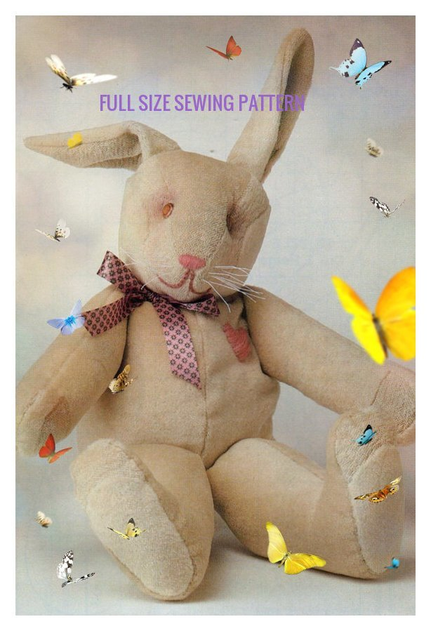 Instant PDF Digital Download Full Size Sewing Pattern A Stuffed Plush Bunny