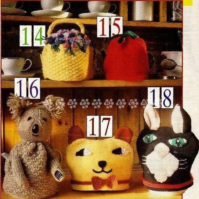 Vintage Knitting Pattern 5 Fab Tea Cozies Cosies Koala Bear,Cat,Tomato & Posy