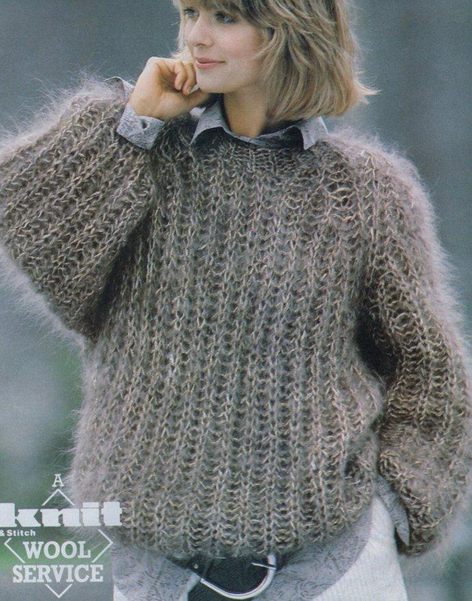 Instant PDF Digital Download Vintage Knitting Pattern Ladies EASY Oversize Loose