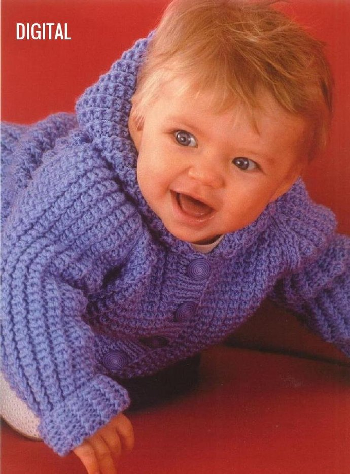 Instant PDF Digital Download Vintage Knitting Pattern Baby Toddler Hooded Toggle