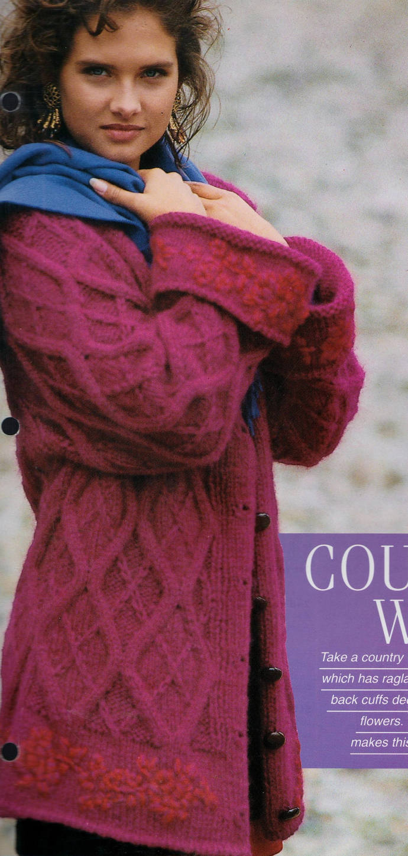 Instant PDF Digital Download Vintage Chart Knitting Pattern Ladies Aran Inspired