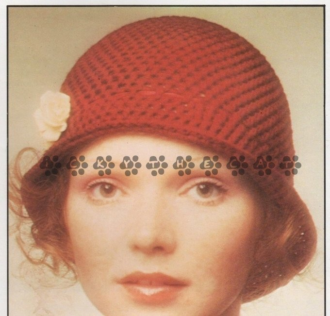 Vintage 70s Crochet Pattern to make a Ladies Pretty, Cloche Style, Brimmed ,Pull