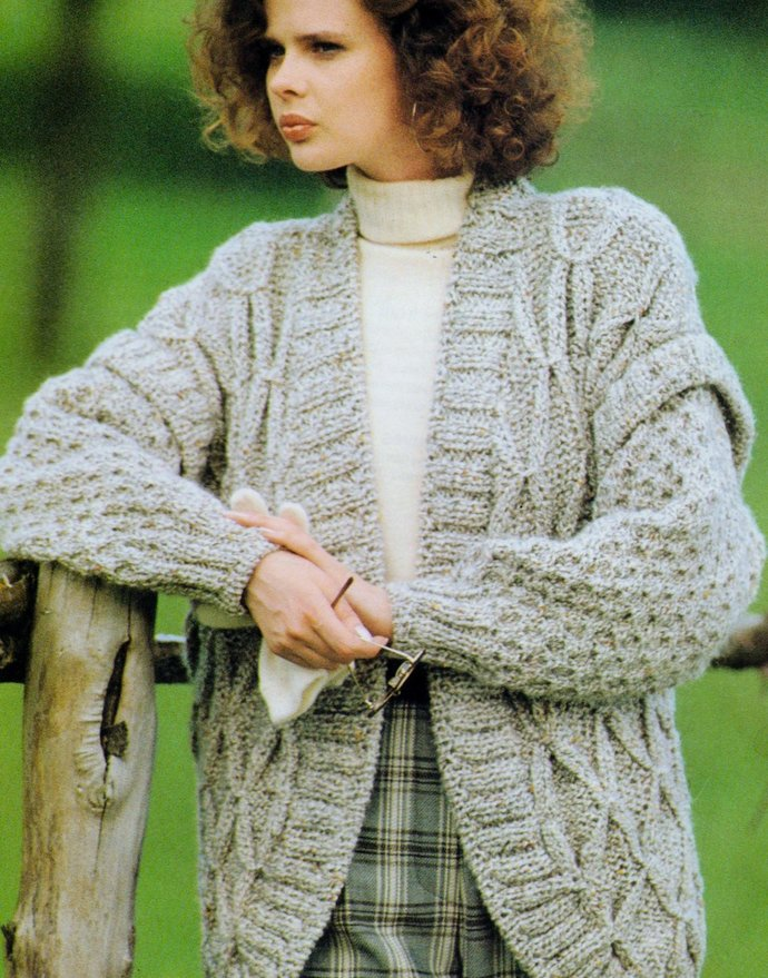 Instant Digital Download PDF Vintage Row by Row Knitting Pattern Ladies Chunky