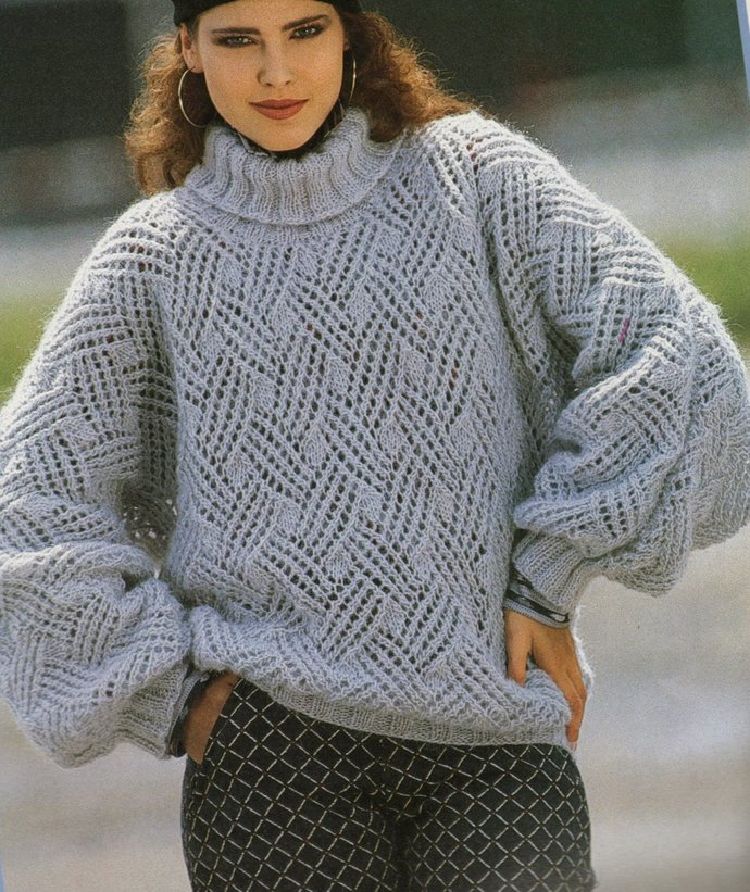 Instant Digital Download PDF Vintage Row by Row Knitting Pattern Ladies Oversize