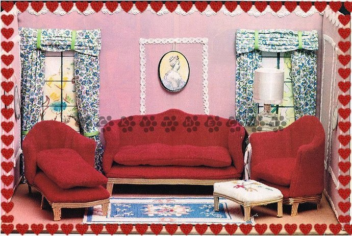 Vintage Sewing Pattern to make Sweet Doll's House Furniture,Curtains,Rug and
