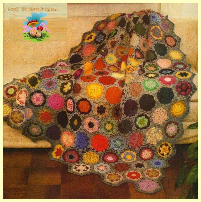 Vintage 70's Crochet Pattern to make a Granny Square Rock Garden Afghan Blanket