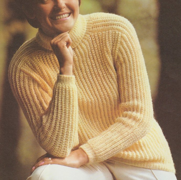 Instant PDF Digital Download Vintage Crochet + Knitting Pattern Ladies Long