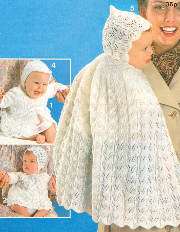 Instant PDF Download Vintage Row by Row Knitting Pattern to make a Baby Lacy