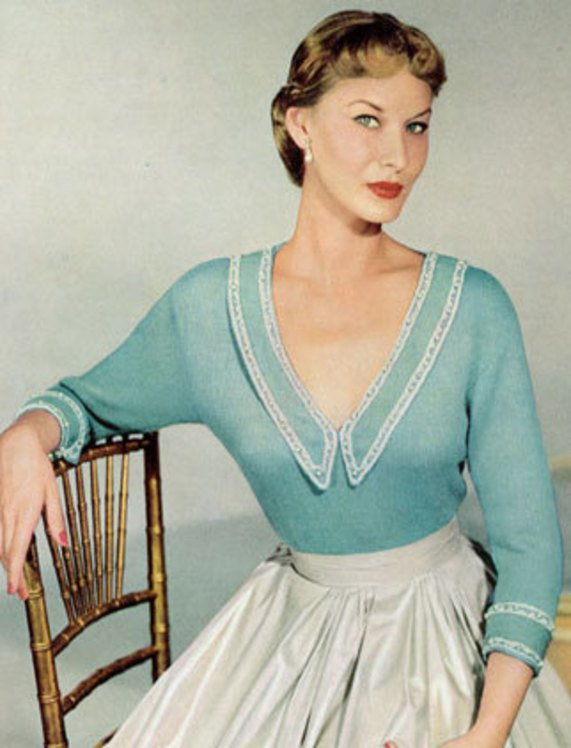 Instant PDF Download Vintage Knitting pattern to make a Ladies Fitted Low V Neck