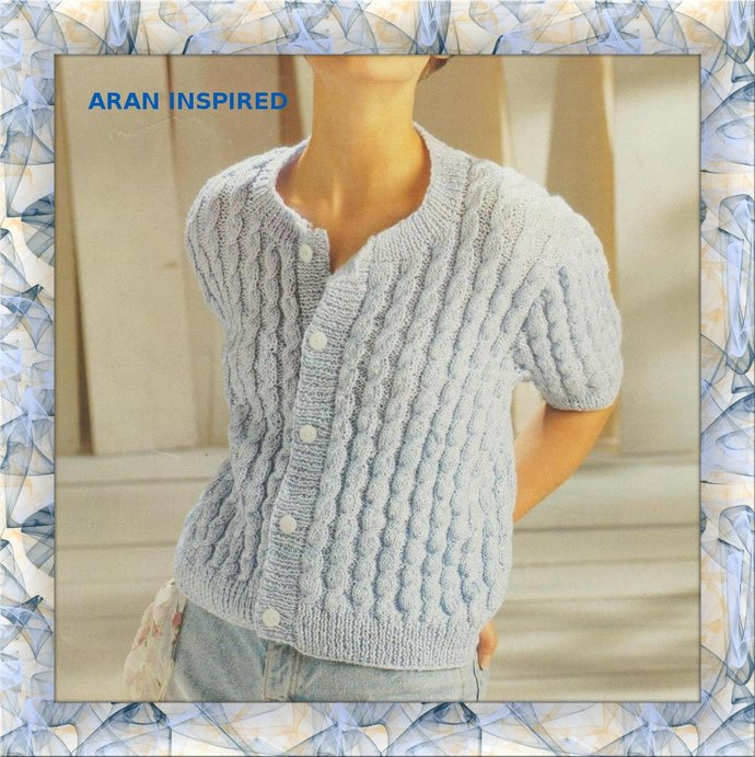 Instant PDF Digital Download Vintage Row by Row Knitting Pattern a Ladies Aran