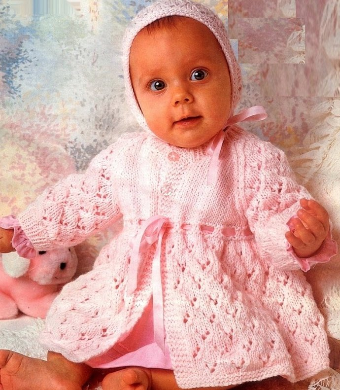 d3b5d3c68 Instant PDF Download Vintage Row by Row Knitting Pattern to make Baby Bebe  a Matinee Coat Cardigan or Jacket with Bonnet Chest 16-20
