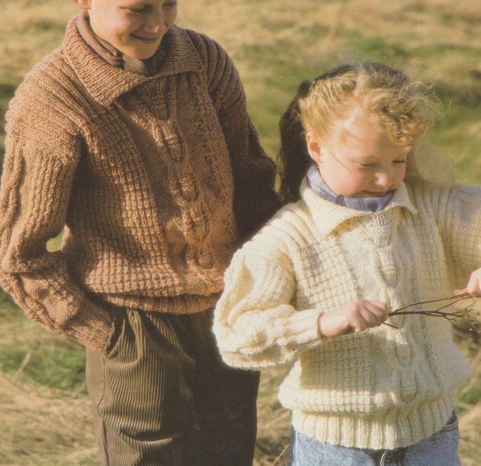 Instant PDF Digital Download Vintage Row by Row Knitting Pattern a Boys Girls