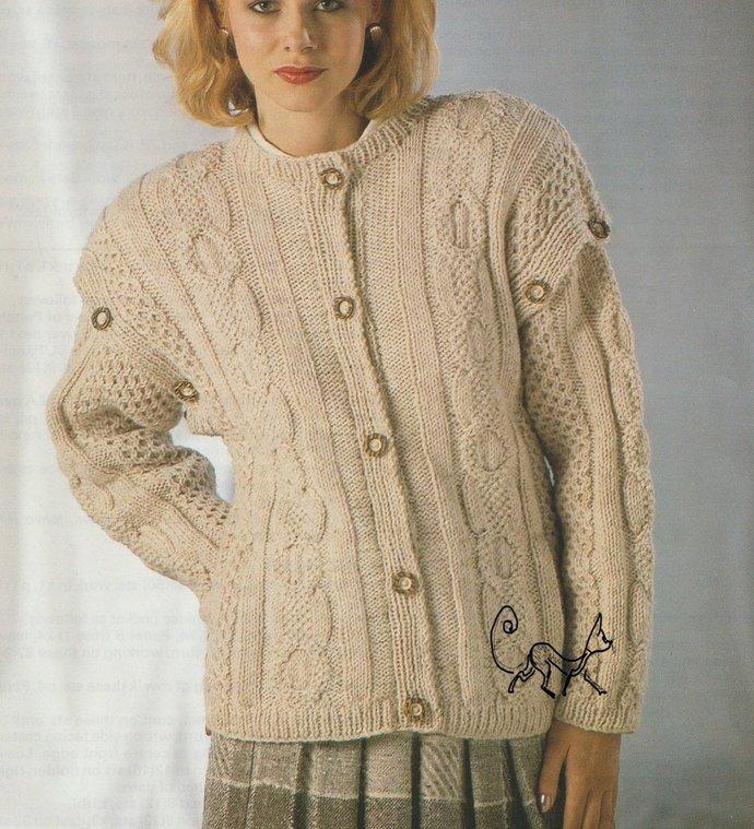 Instant PDF Digital Download Vintage Row by Row Knitting Pattern Ladies Loose